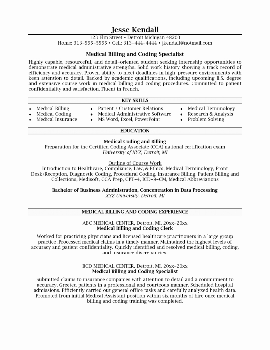 Examples Medical Coder Resume – Perfect Resume format