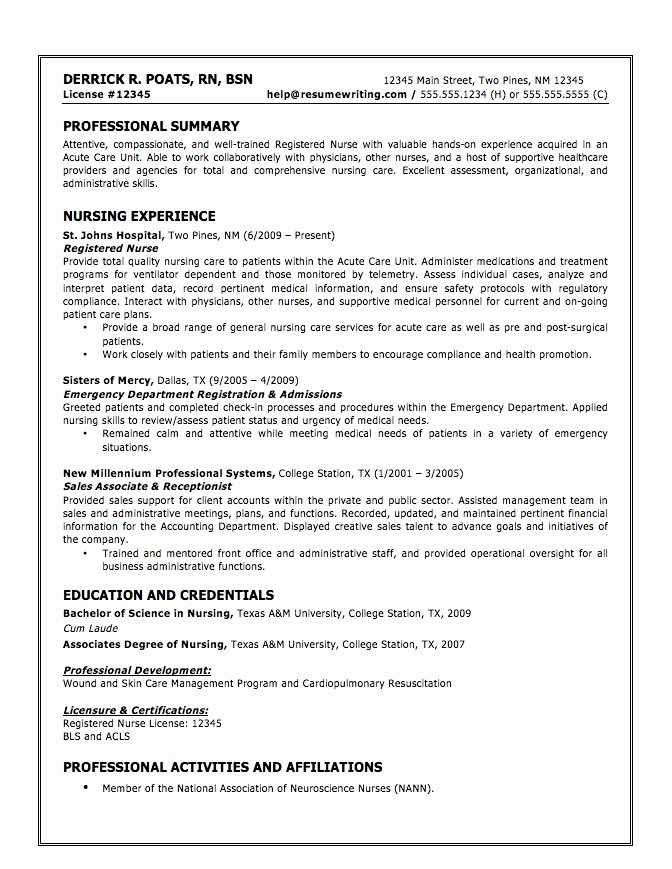 Examples Nursing Student Resumes Best Resume Collection