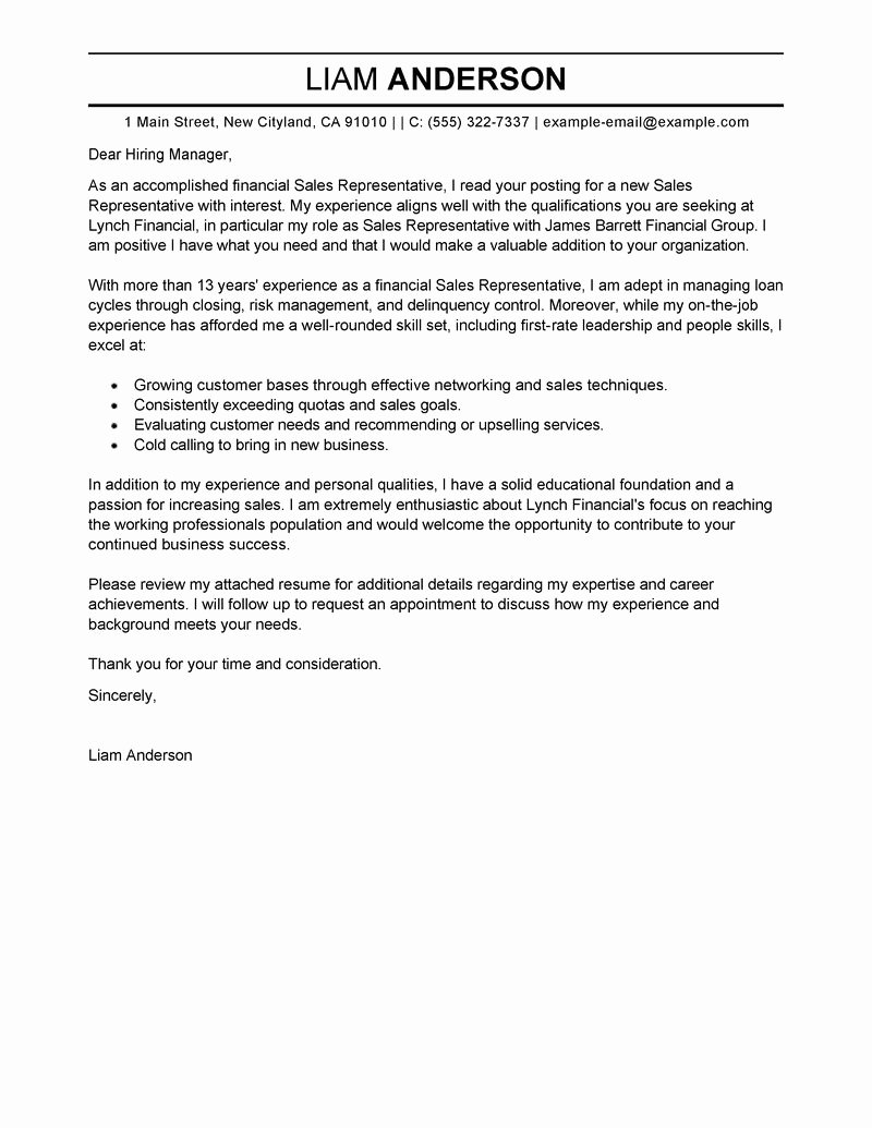 Examples Professional Cover Letters for Resumes