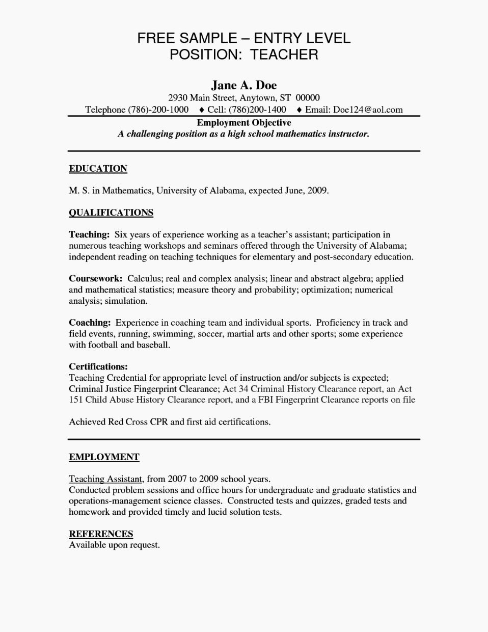 Examples Resumes for Entry Level Jobs