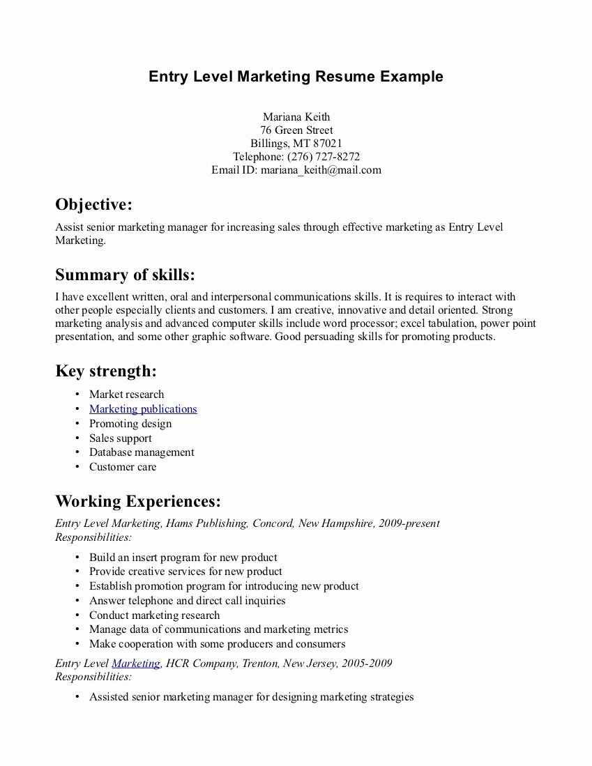 Examples Resumes for Entry Level Jobs – Perfect Resume