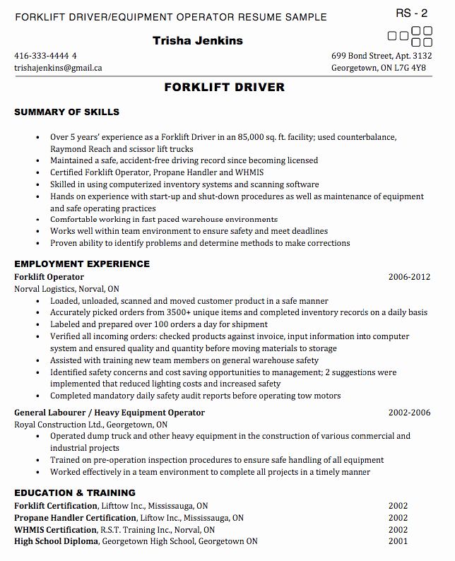 Examples Resumes for fork Lift Operators – Job Resume Example