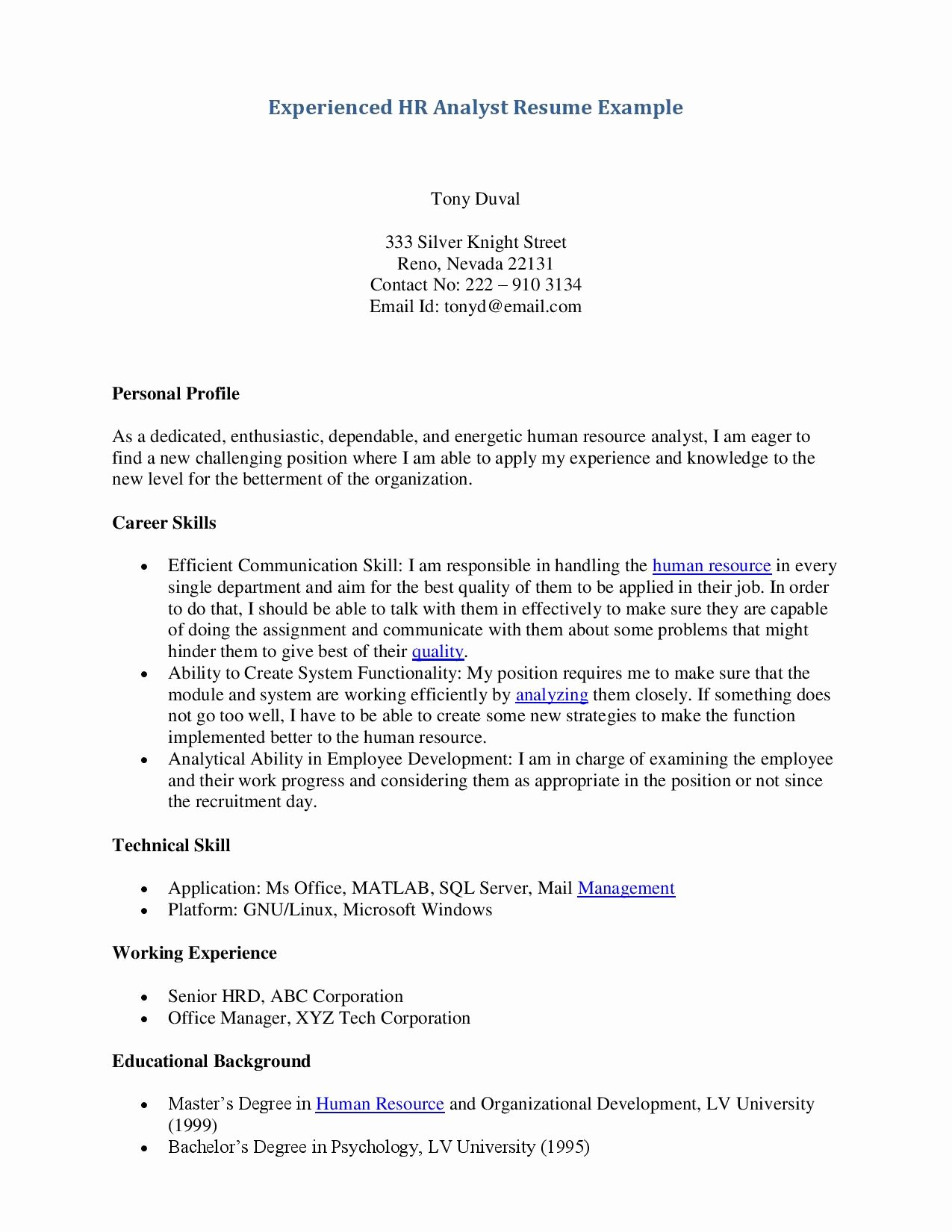Examples Resumes for Jobs with No Experience