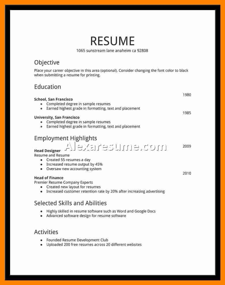 Examples Resumes for Jobs