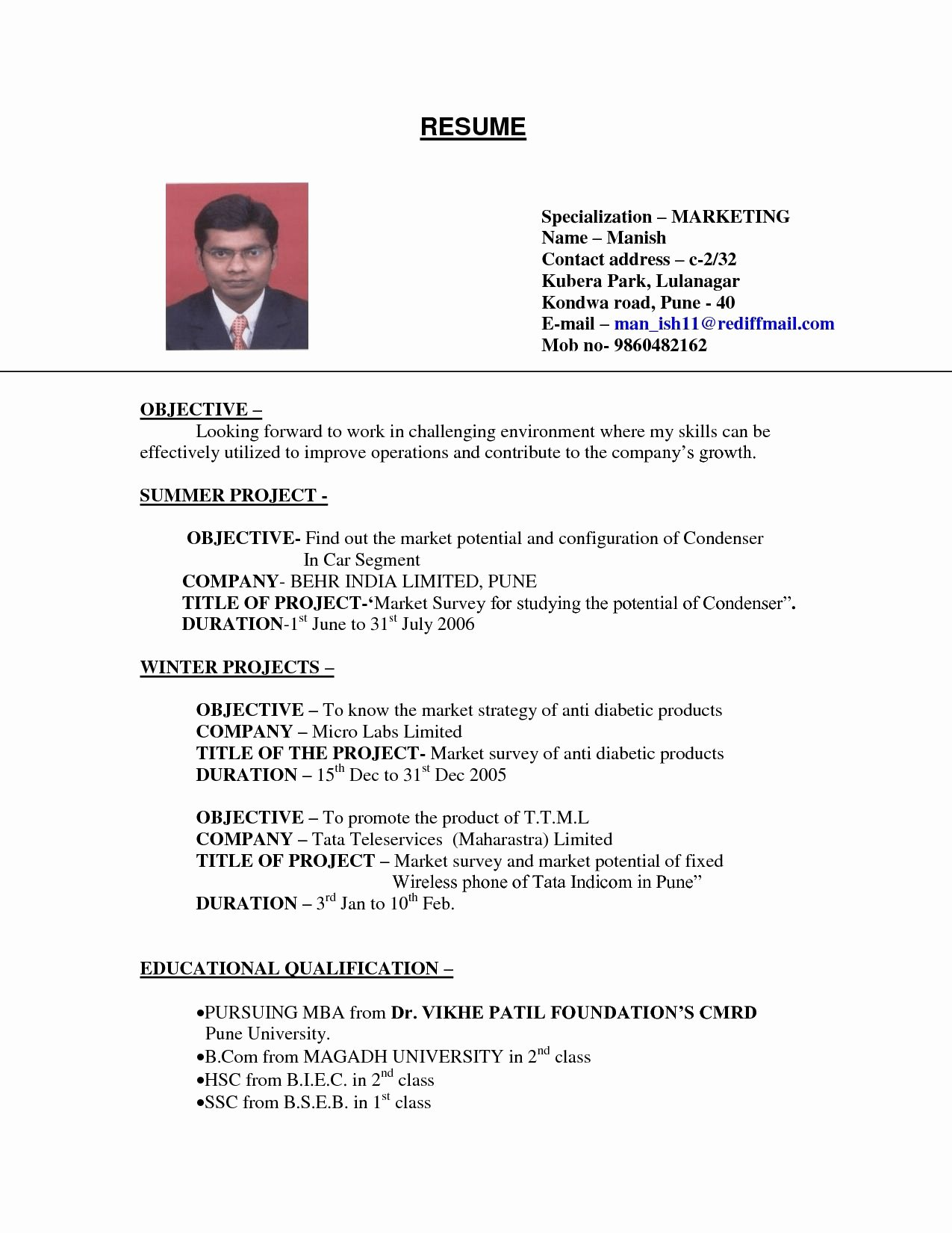 Examples Resumes Sample Resume for College Student