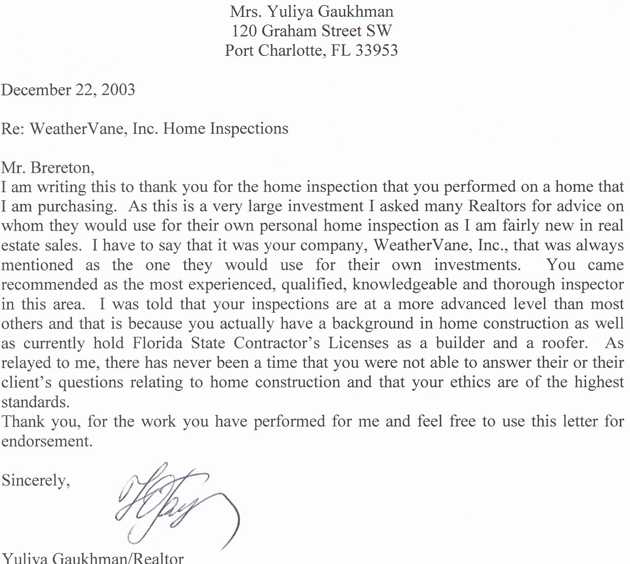 Examples Testimonial Letters for Real Estate Agent