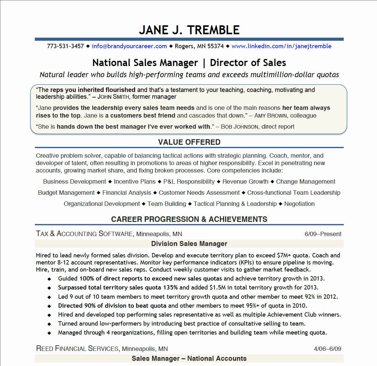 Exceeding Sales Quota Resume
