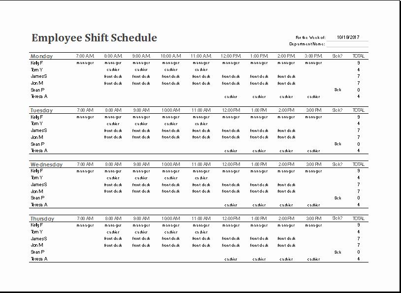 Excel 24 Hour Schedule Template 12 Hour Shift Schedule