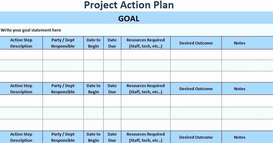 Excel Action Plan Template Project Action Plan Template