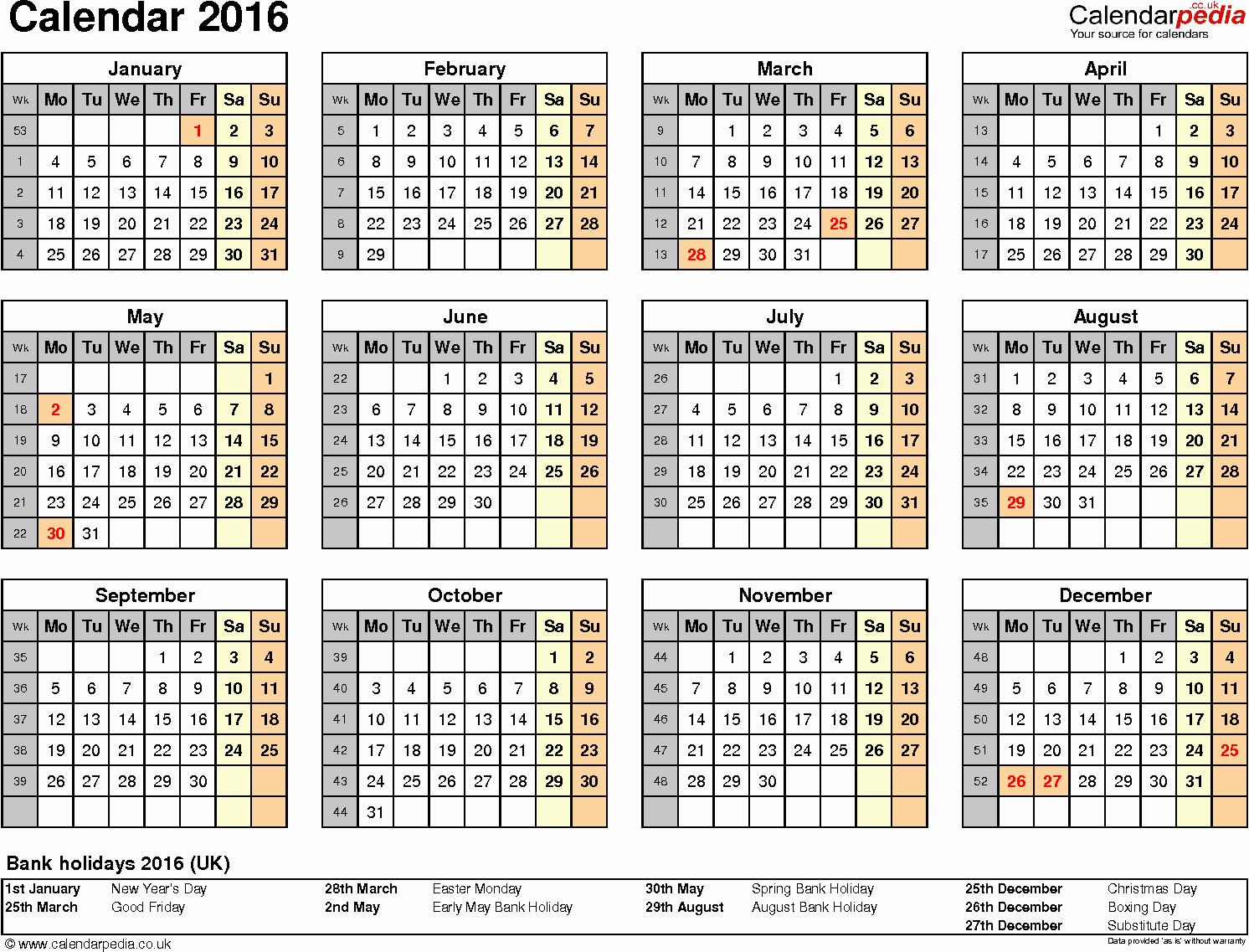 Excel Calendar 2016 Uk 16 Printable Templates Xlsx Free