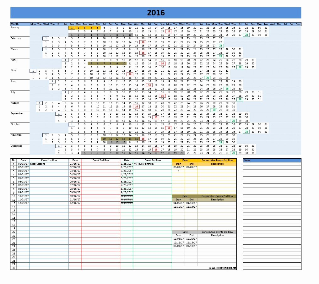 Excel Calendar Template 2017