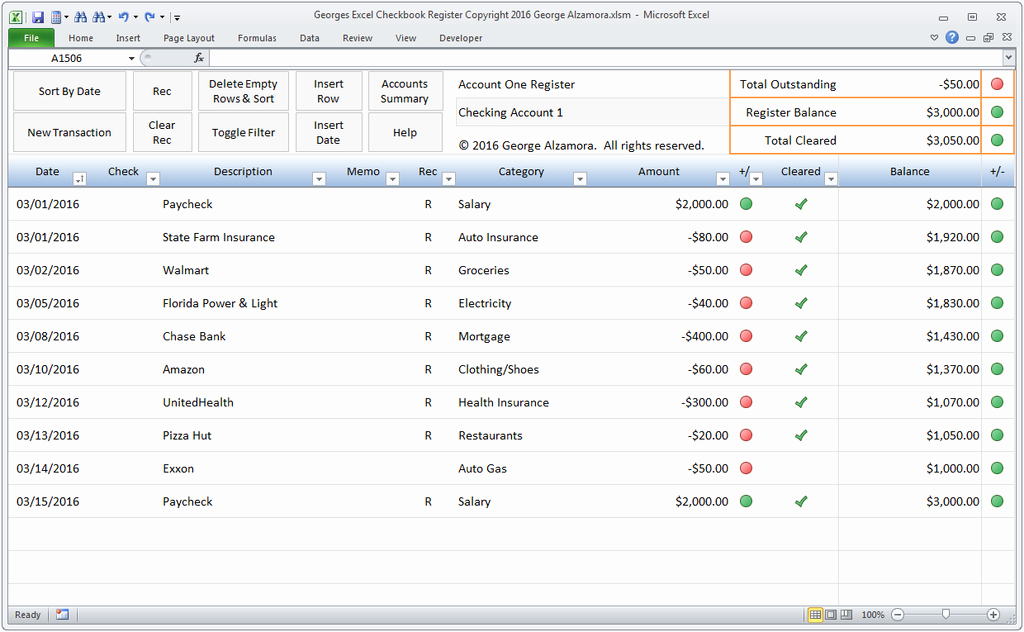 Excel Checkbook Register Spreadsheet – Buyexceltemplates
