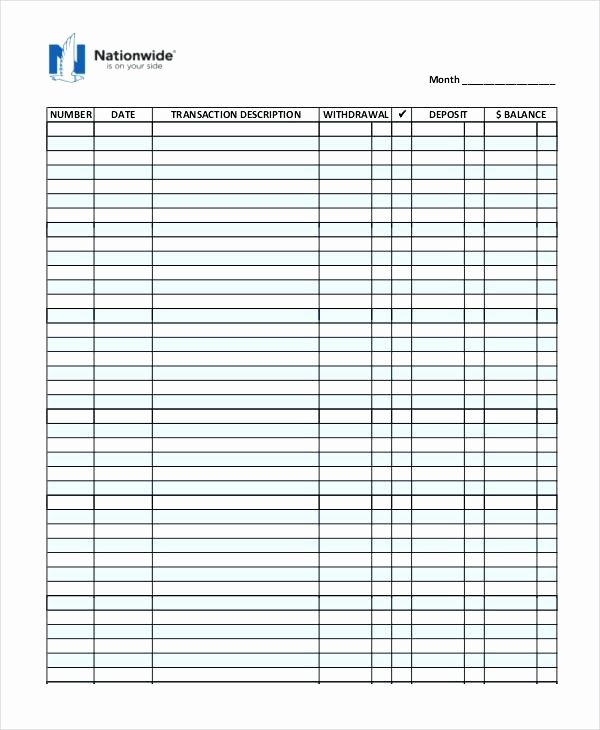 Excel Checkbook Register Template Business Check Cheque
