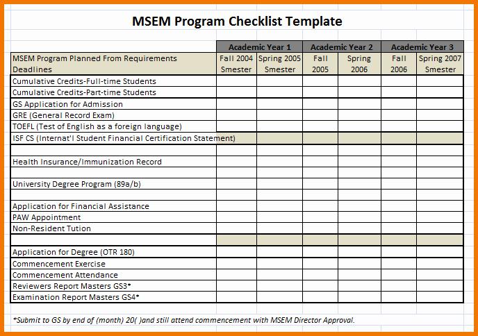 Excel Checklist Template Program Checklist Template