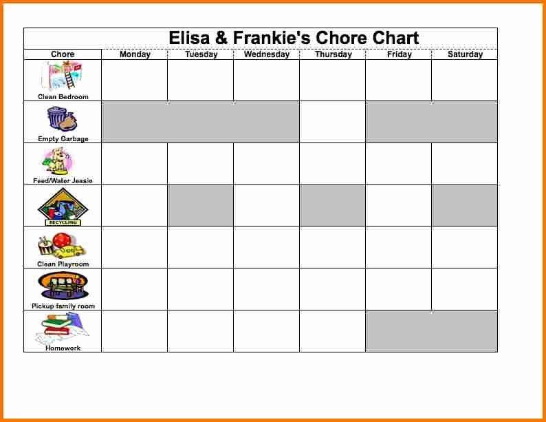 Excel Chore Chart