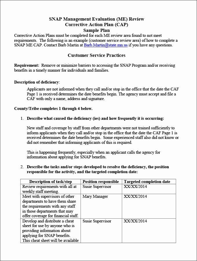 Excel Corrective Action Plan Template Employee Action