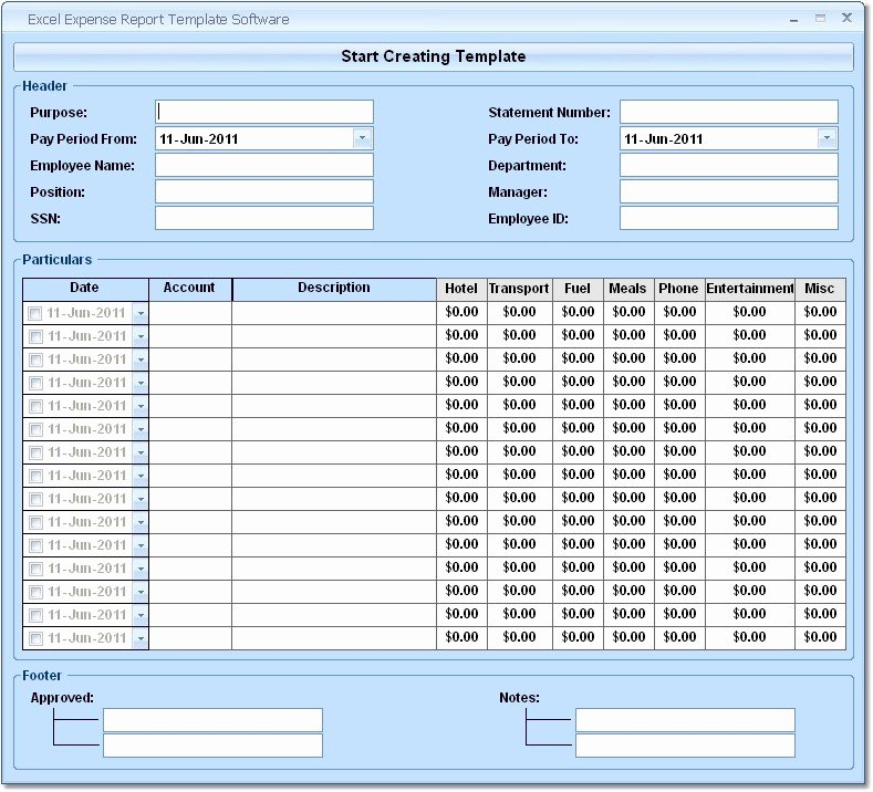 Excel Expense Report Template software Free Download