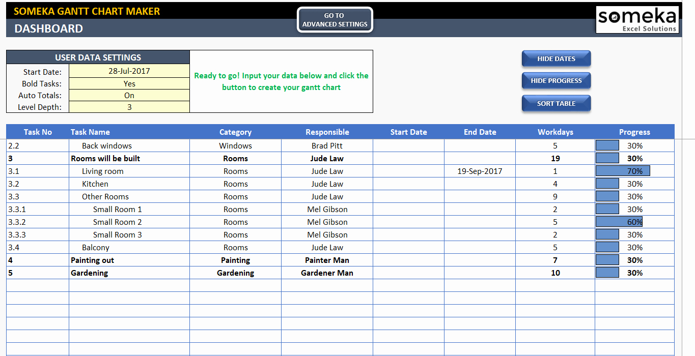 Excel Gantt Chart Maker Template Easily Create Your