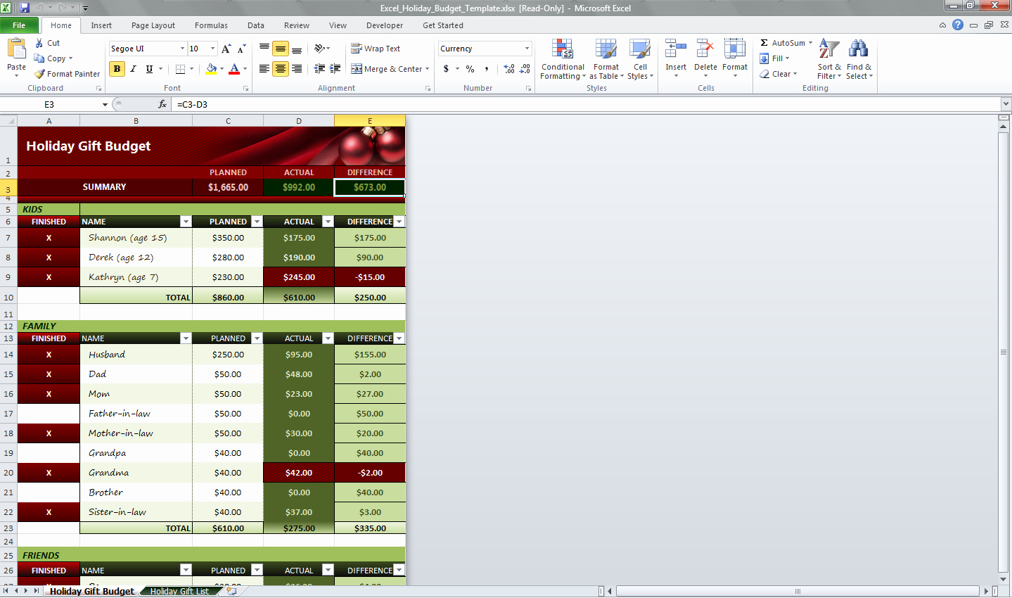 Excel Holiday Bud Template