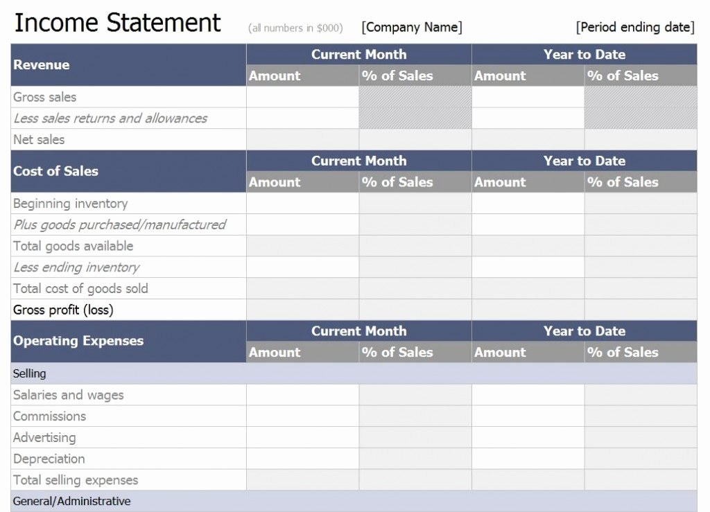 Excel In E Statement Template Free