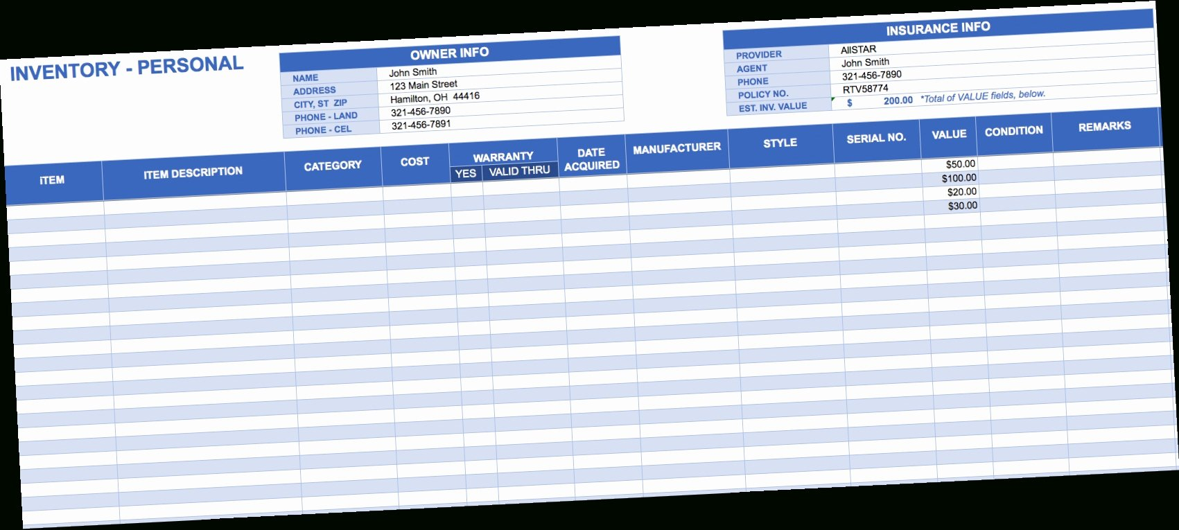 Excel Inventory Spreadsheet Template Inventory Spreadshee