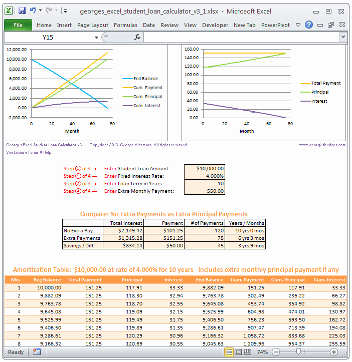 Excel Loan Amortization Template Download Variable Loan