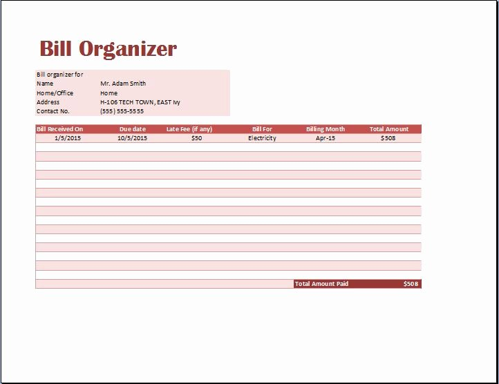 Excel Monthly Bill Pay Template 7 Best Images Of