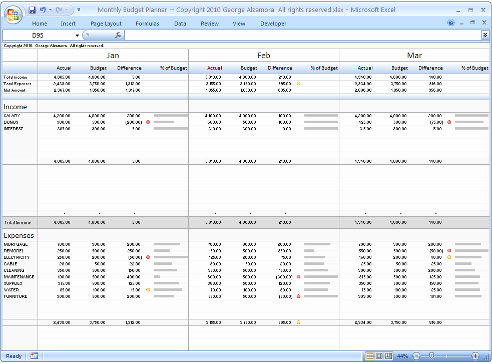Excel Monthly Bud Planner – Buyexceltemplates