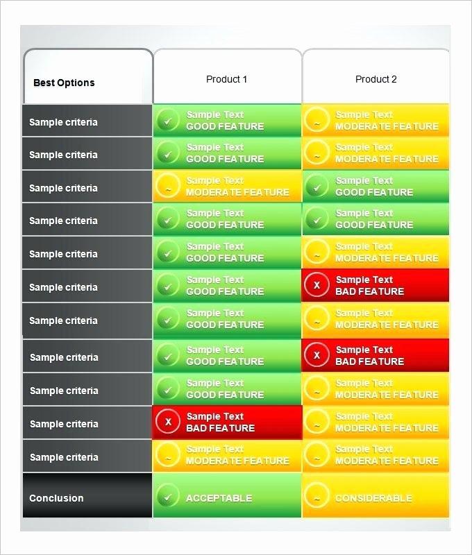 Excel Parison Product Parison Chart Template format