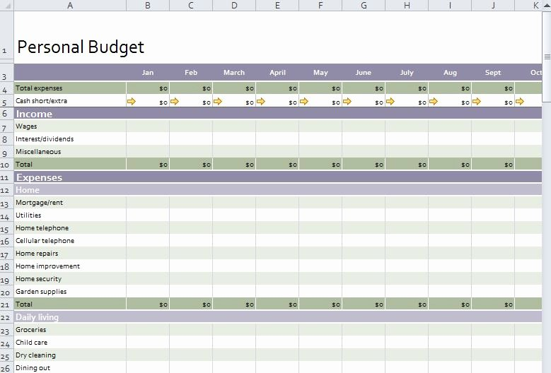 Excel Personal In E and Expenditure Template Personal