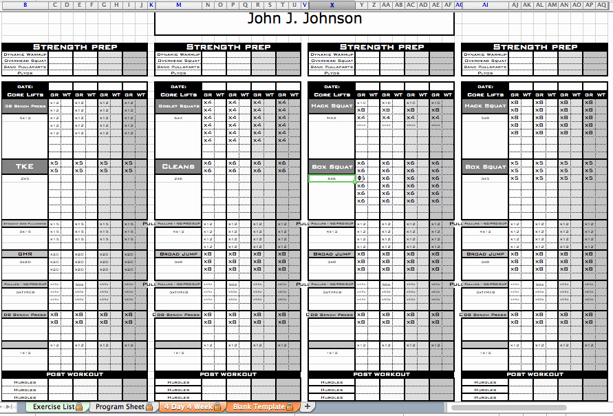 Excel Personal Training Templates Excel Training Designs