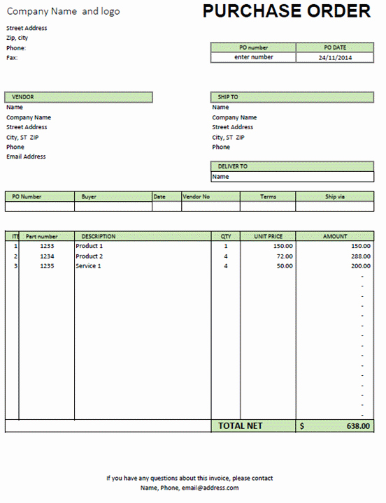 Excel Purchase order Template Excel