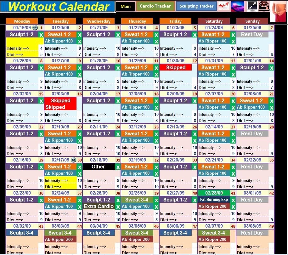 Excel Spreadsheet Calendar & Workout Tracker tool for