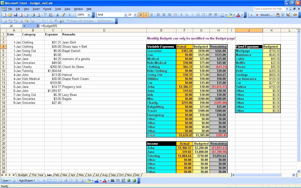 Excel Spreadsheet for Bud Install