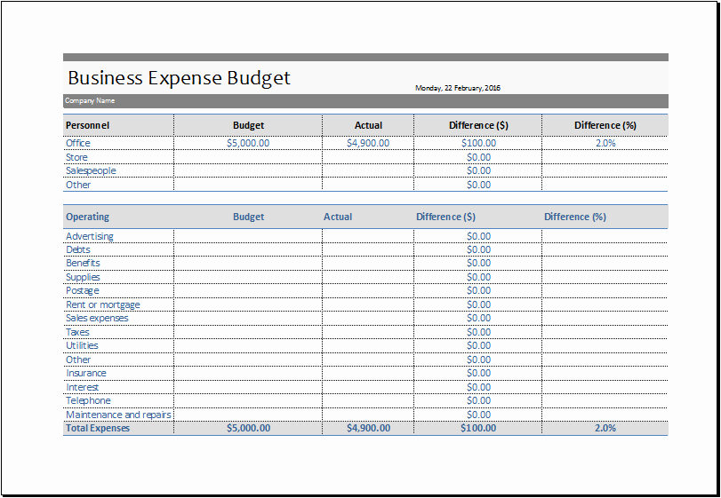 Excel Spreadsheet Template Business Expenses Expense