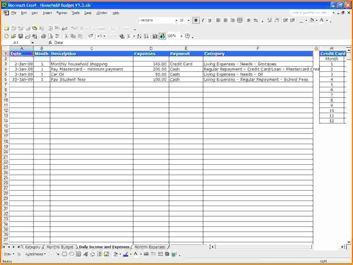 Excel Spreadsheet Template for Expenses Spreadsheet