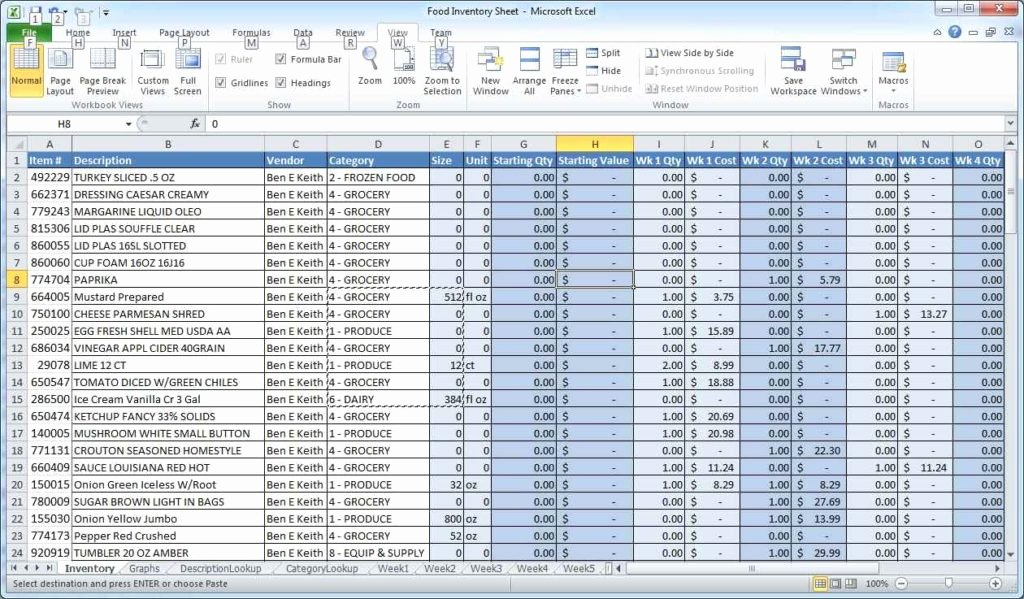 Excel Spreadsheet Templates for Inventory Excel