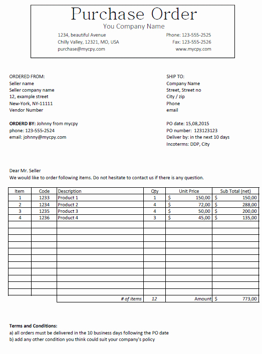 Excel Template Classic Looking Purchase order Template
