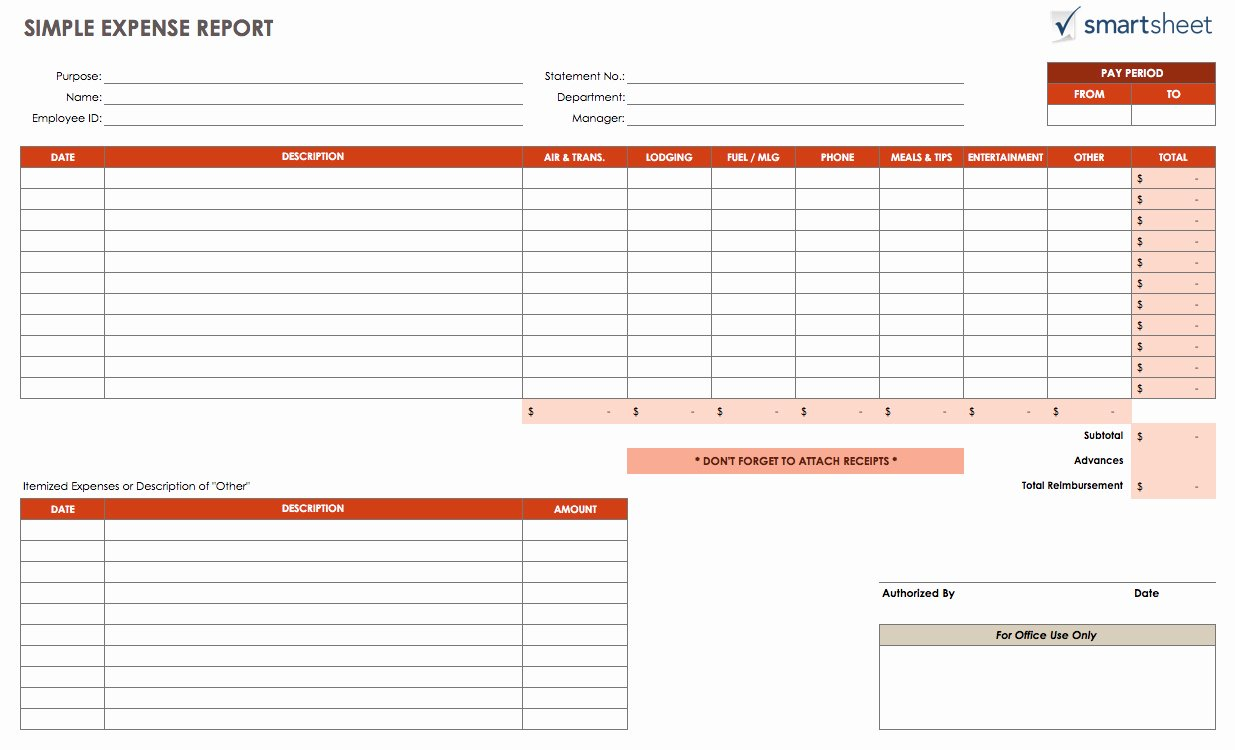 Excel Template Expense Report
