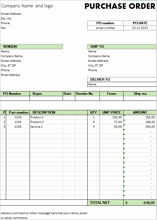 Excel Template Free Purchase order Template for