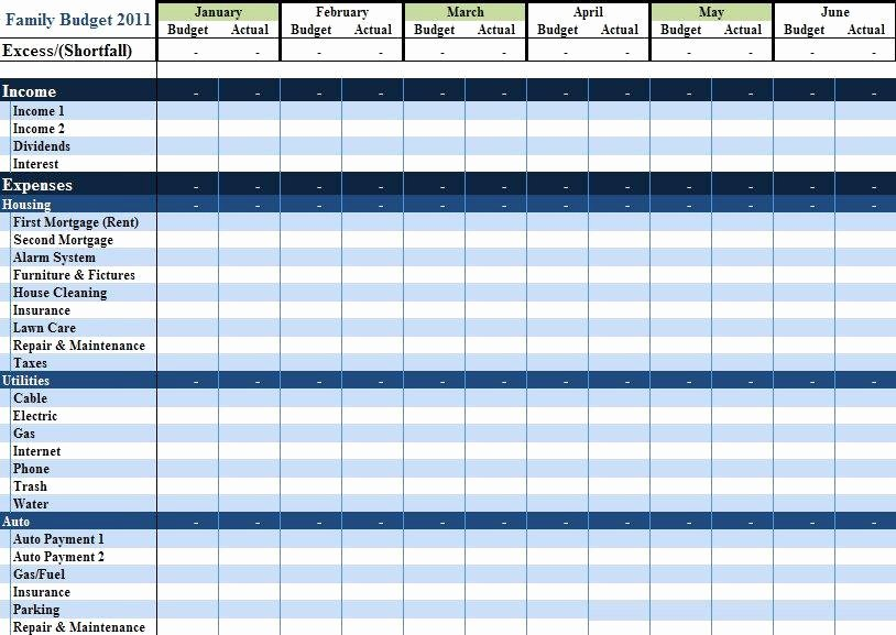 Excel Template Personal Bud