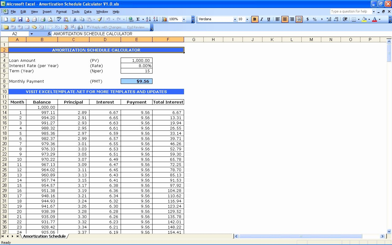 Excel Templates Adds Plimentary Loan Amortization
