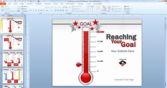 Excel thermometer Goal Templates Editableml