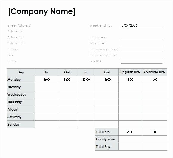 Excel Timecard Template Sample Employee Monthly Timesheet