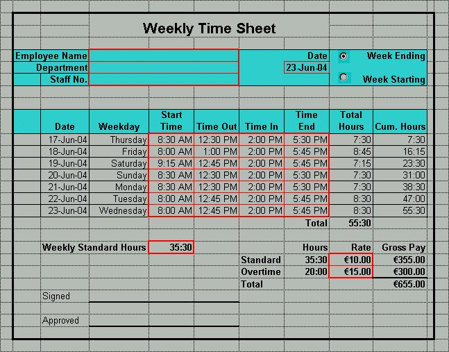 Excel Timesheet Templates