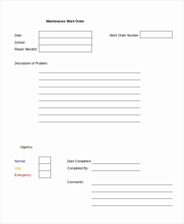 Excel Work order Template 13 Free Excel Document