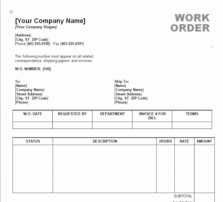 Excel Work order Template Building Maintenance Work order
