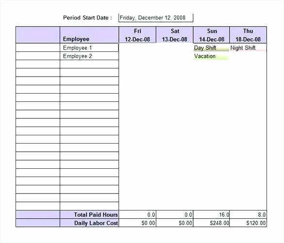 Excel Work Schedule Template Weekly Allows User to
