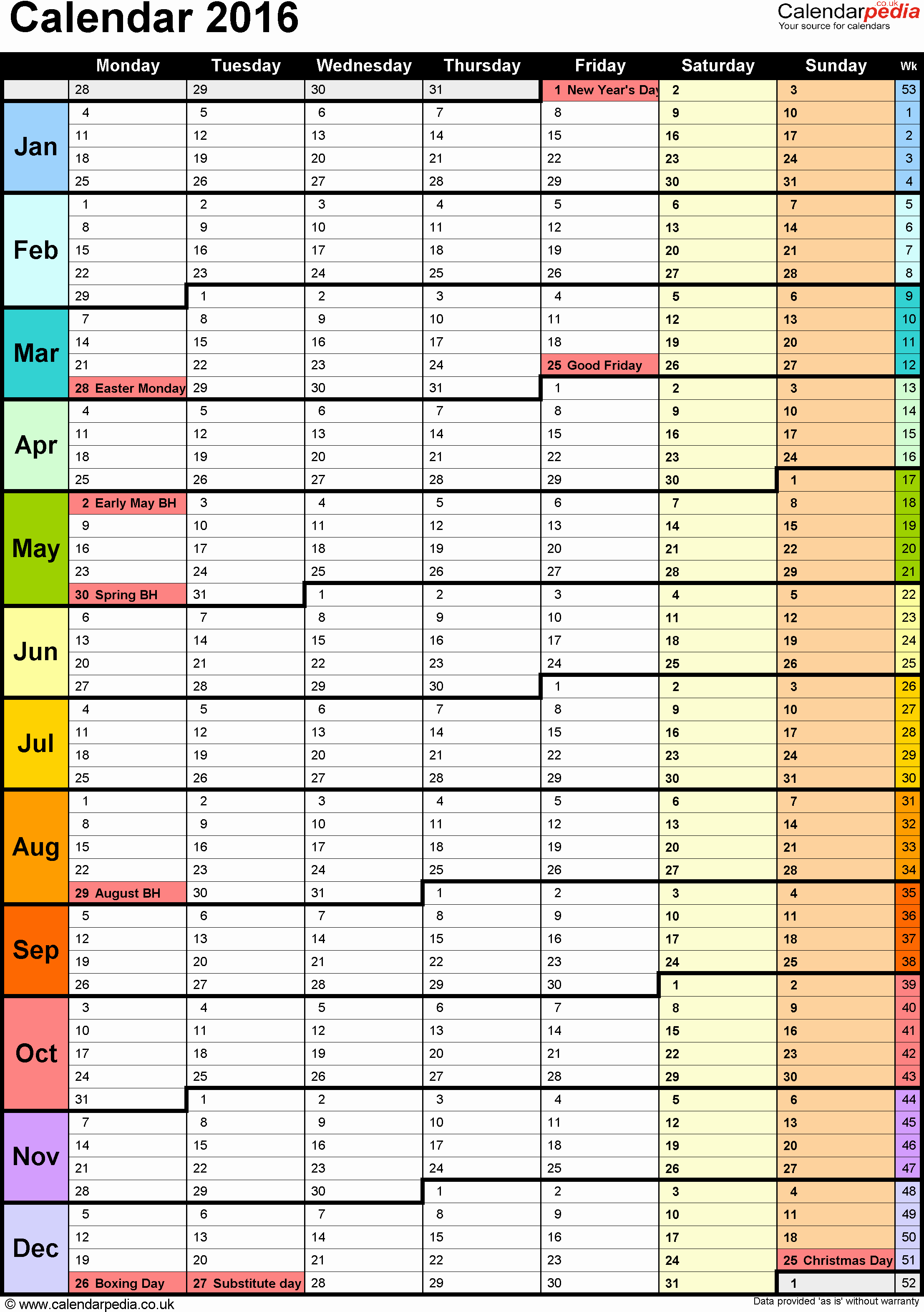 Excel Yearly Calendar Template