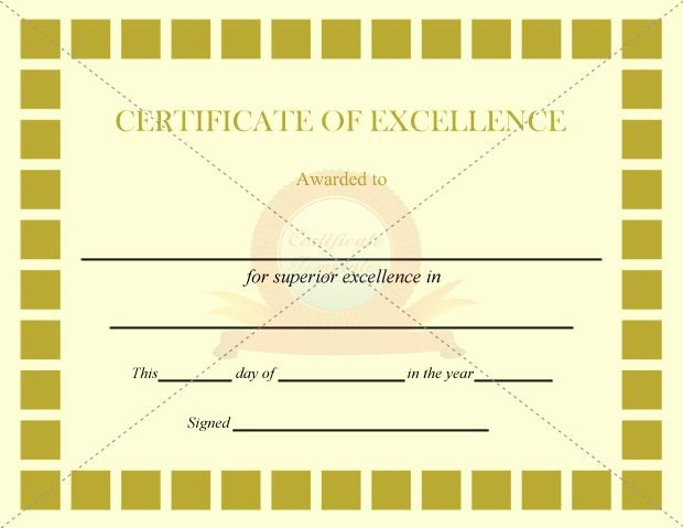Excellence Certificate Olive Squares Template